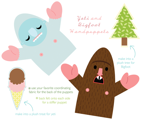 Yeti and Bigfoot fabric by jordan_elise on Spoonflower - custom fabric