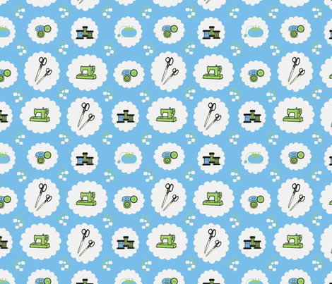 Fabulous Fifties Sewing Supplies fabric by mayabella on Spoonflower - custom fabric