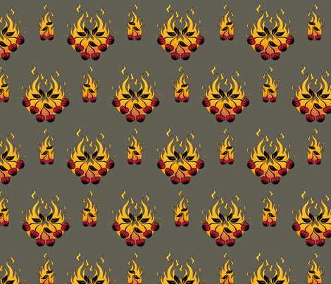 Flaming Cherry Tattoo Large - B fabric by voodoorabbit on Spoonflower - custom fabric