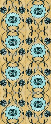 Aqua Folk Flowers