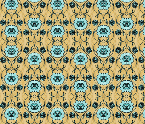 Aqua Folk Flowers fabric by kdl on Spoonflower - custom fabric