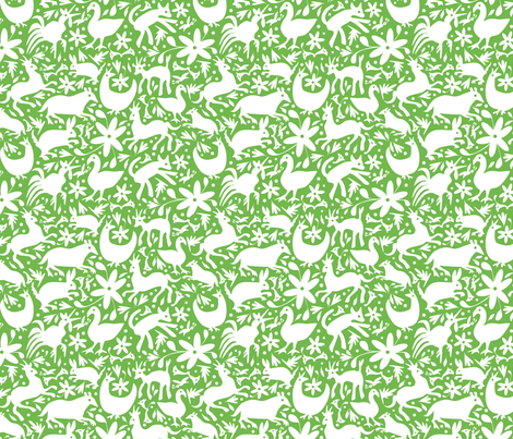 Mexico Springtime: White on Jade (Small Scale) fabric by sammyk on Spoonflower - custom fabric
