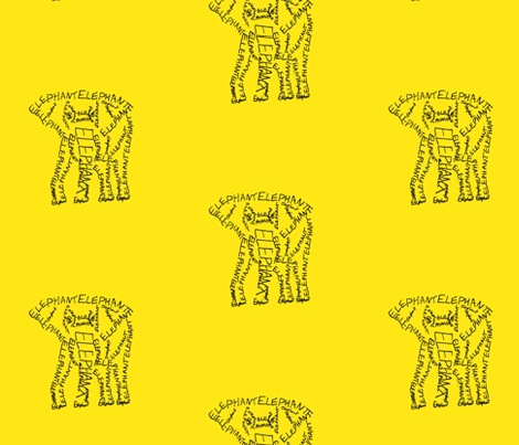 Elephant Calligram fabric by blue_jacaranda on Spoonflower - custom fabric