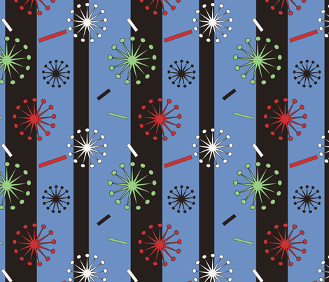 Retro Confetti Bursts (Blue) fabric by pantsmonkey on Spoonflower - custom fabric