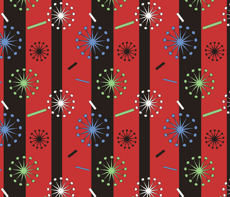 Retro Confetti Bursts (Red) fabric by pantsmonkey on Spoonflower - custom fabric
