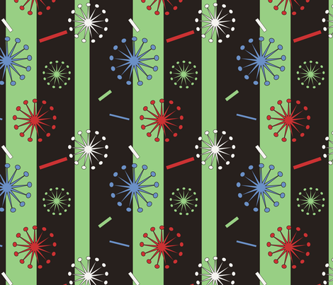 Retro Confetti Bursts (Black/Green) fabric by pantsmonkey on Spoonflower - custom fabric