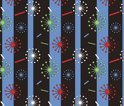 Retro Confetti Bursts (Black/Blue) fabric by pantsmonkey on Spoonflower - custom fabric