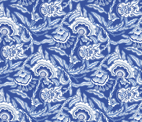 Indonesian Flower Indigo fabric by eva_the_hun on Spoonflower - custom fabric