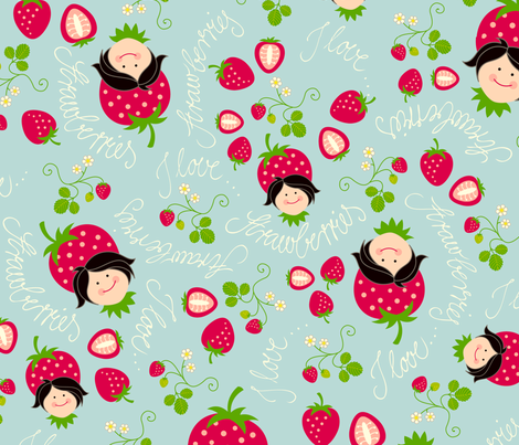 I love Strawberries fabric by hamburgerliebe on Spoonflower - custom fabric