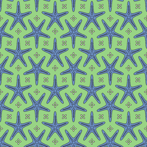 Splash of Starfish green fabric by inscribed_here on Spoonflower - custom fabric