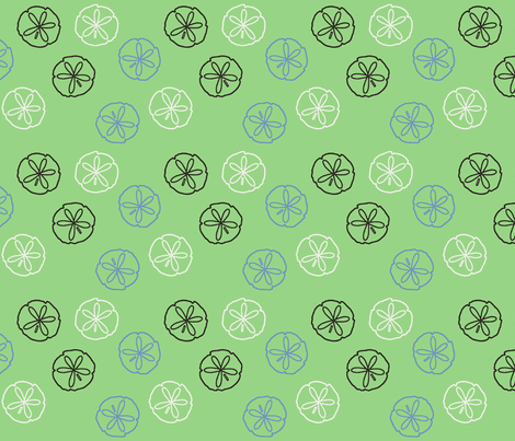 Sea Gift - Sand Dollars green fabric by inscribed_here on Spoonflower - custom fabric