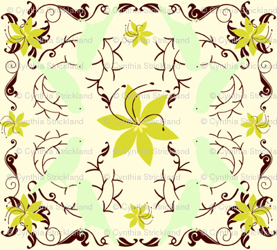 MorningSong Green Floral