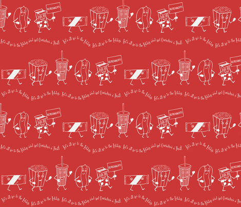 Let's all go to the Lobby! - Red fabric by lulakiti on Spoonflower - custom fabric