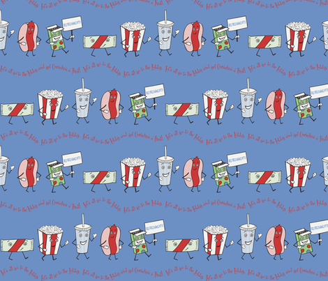 Let's all go to the Lobby! - Blue fabric by lulakiti on Spoonflower - custom fabric