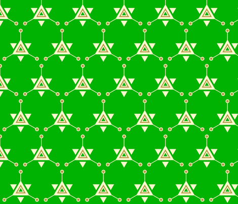Triangular Galactic Green fabric by siya on Spoonflower - custom fabric