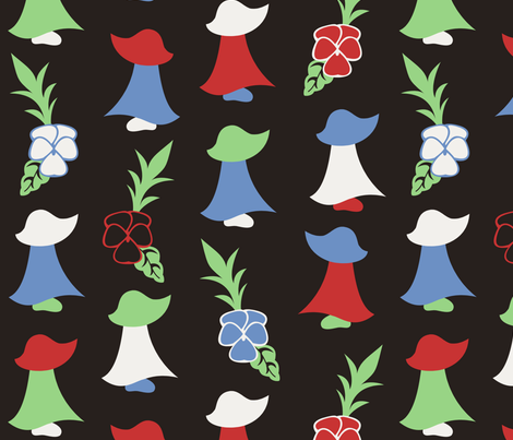 Sunbonnet Sue 1950s Inspired fabric by taracrowleythewyrd on Spoonflower - custom fabric