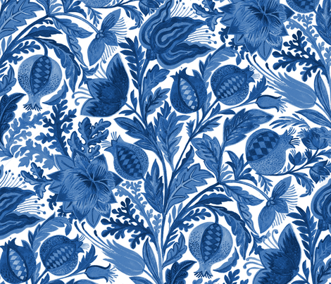 Indigo Flowers fabric by eva_the_hun on Spoonflower - custom fabric