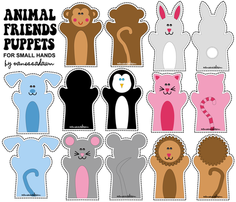 Animal Friends Puppets fabric by pixeldust on Spoonflower - custom fabric