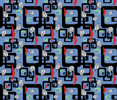 Black RetroSquares fabric by poetryqn on Spoonflower - custom fabric