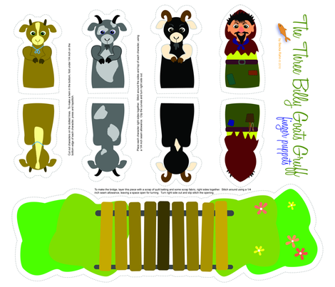 Three Billy Goats Gruff Finger Puppets fabric by beckarahn on Spoonflower - custom fabric