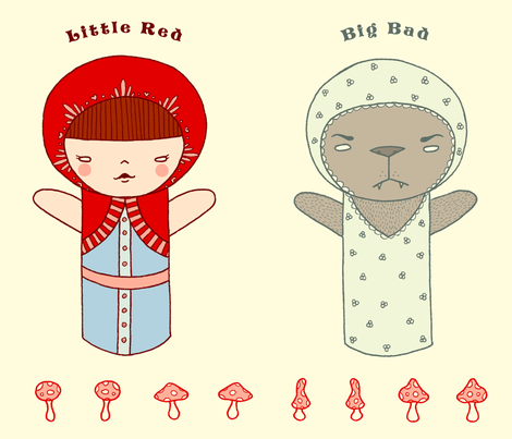 Little Red vs Big Bad fabric by beeskneesindustries on Spoonflower - custom fabric