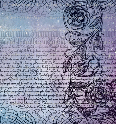 Just the text, scrollwork, and roses