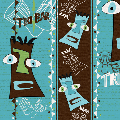 Tiki Two Step fabric by poetryqn on Spoonflower - custom fabric
