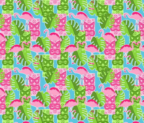 Flamingo_Tiki fabric by jumping_monkeys on Spoonflower - custom fabric