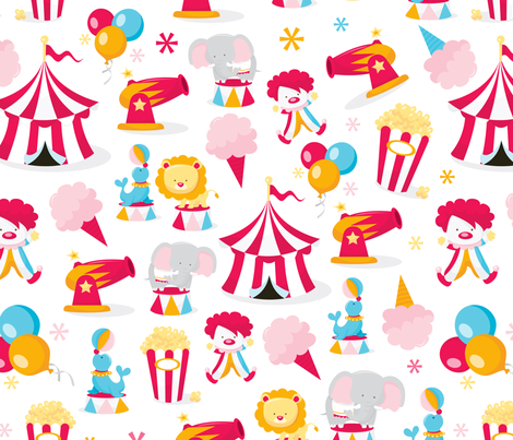 Circus In Town Pattern Fabric fabric by totallyjamie on Spoonflower - custom fabric