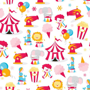 Circus In Town Pattern Fabric