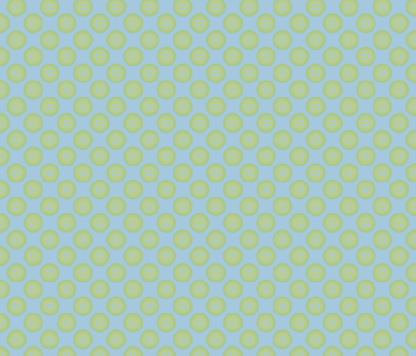 Green Button on Blue fabric by mayabella on Spoonflower - custom fabric