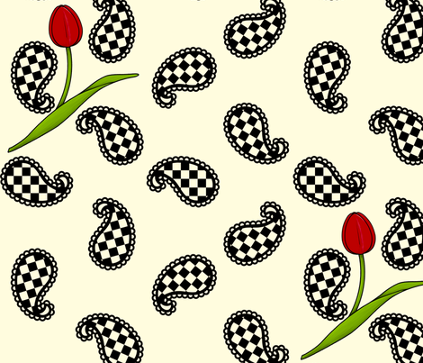 Paisleys and Tulips fabric by siya on Spoonflower - custom fabric