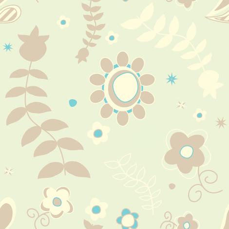 Sweet Folk Garden - Aquaberry - © PinkSodaPop 4ComputerHeaven.com  fabric by pinksodapop on Spoonflower - custom fabric