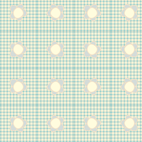 Sweet Folk Garden - Aquaberry Tartan Floral -  © PinkSodaPop 4ComputerHeaven.com fabric by pinksodapop on Spoonflower - custom fabric