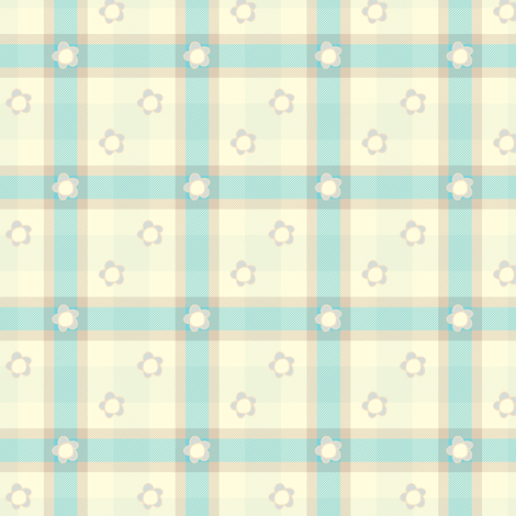 Sweet Folk Garden - Aquaberry Tartan Floral Diagonal - © PinkSodaPop 4ComputerHeaven.com fabric by pinksodapop on Spoonflower - custom fabric