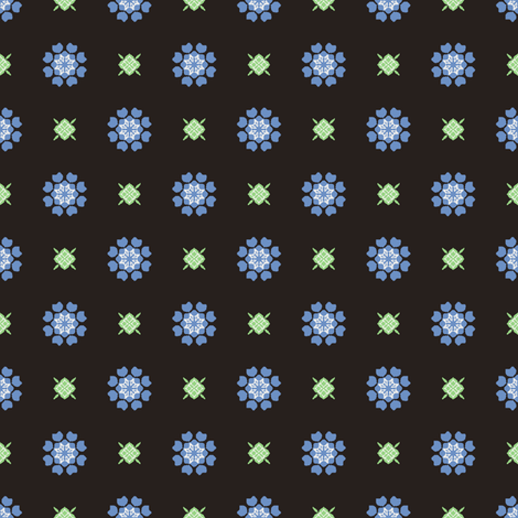 Anemone of my Anemone blue on black fabric by inscribed_here on Spoonflower - custom fabric