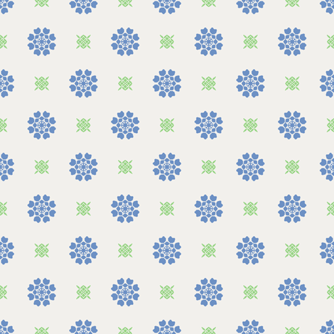 Anemone of my Anemone blue on white fabric by inscribed_here on Spoonflower - custom fabric