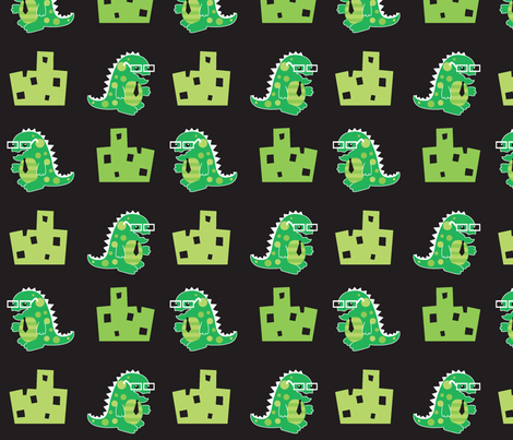 Geekzilla in the City fabric by malien00 on Spoonflower - custom fabric