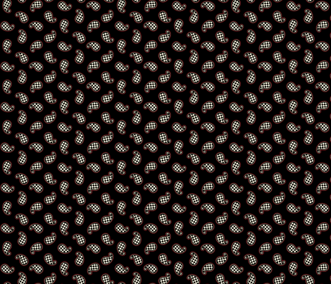 Paisley Check on Black - Small with Red fabric by siya on Spoonflower - custom fabric