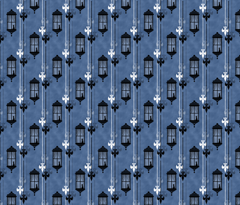 Rainy Fleurs - Bleu fabric by siya on Spoonflower - custom fabric