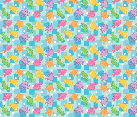 Bright Ocean Critters fabric by jillianmorris on Spoonflower - custom fabric