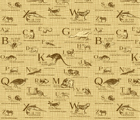 Vintage Alphabet Sepia fabric by dentednj on Spoonflower - custom fabric