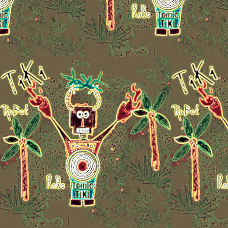 RoBoTomic TiKi Teal Neon fabric by paragonstudios on Spoonflower - custom fabric