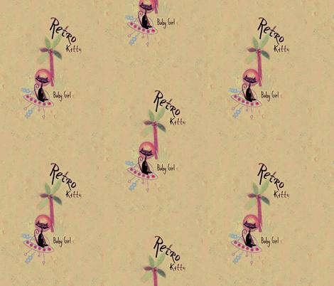 Retro Kitty / Pale fabric by paragonstudios on Spoonflower - custom fabric