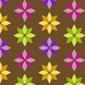 Flowers - Four Colors on Brown