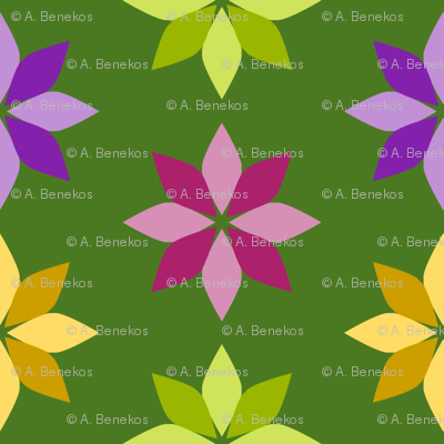 Flowers - Four Colors on Green