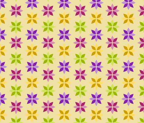 Flowers - Four Colors on Cream fabric by siya on Spoonflower - custom fabric