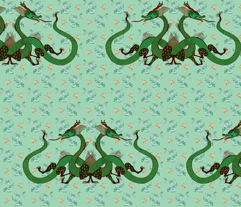 green-dragon012-f fabric by eva_the_hun on Spoonflower - custom fabric