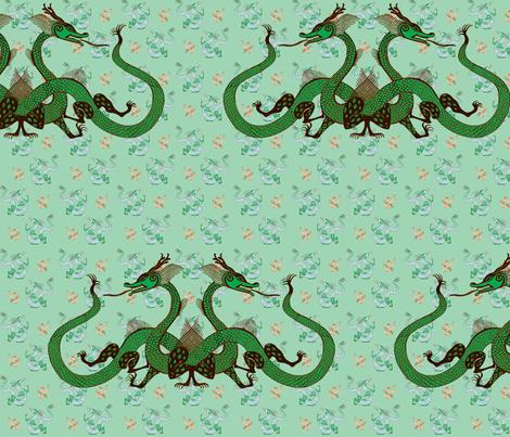 green-dragon012-f fabric by eva_the_hun on Spoonflower - custom fabric