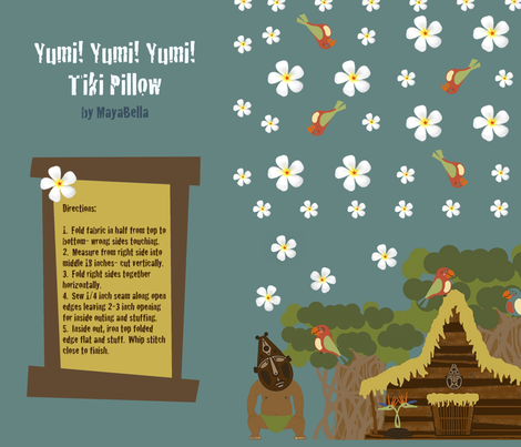 Yumi! Yumi! Yumi! Tiki Pillow fabric by mayabella on Spoonflower - custom fabric